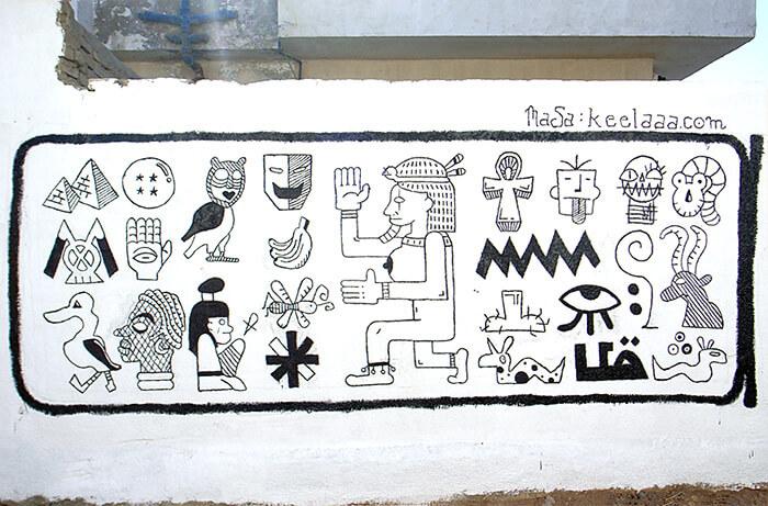 エジプトのダハブという街で描いた壁画
